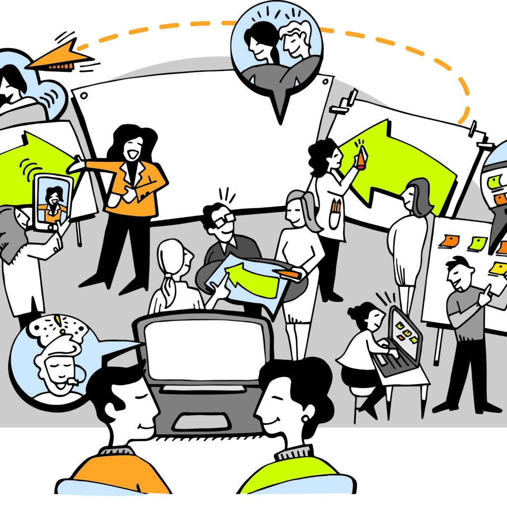 hybrid meetings with team members