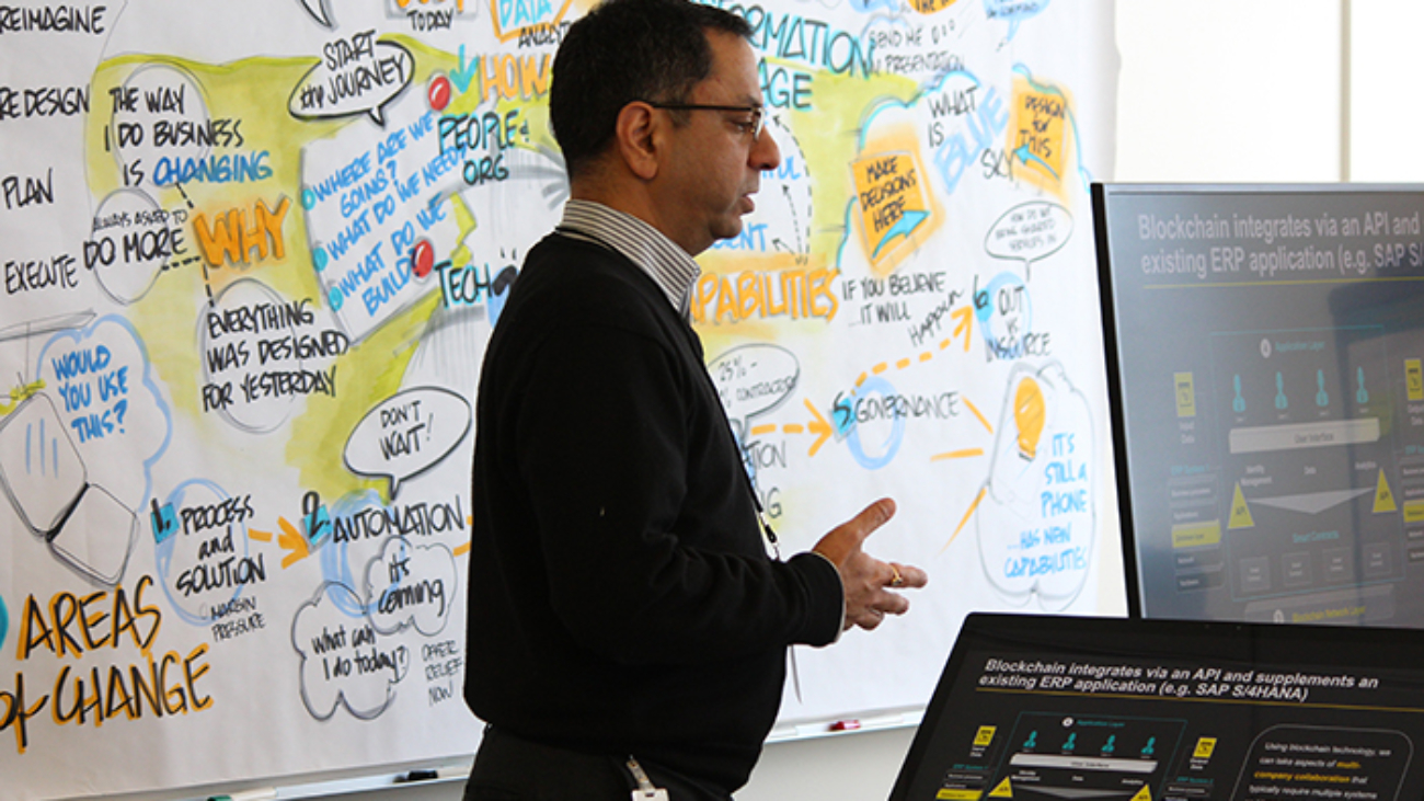 Man talking during graphic facilitation discovery