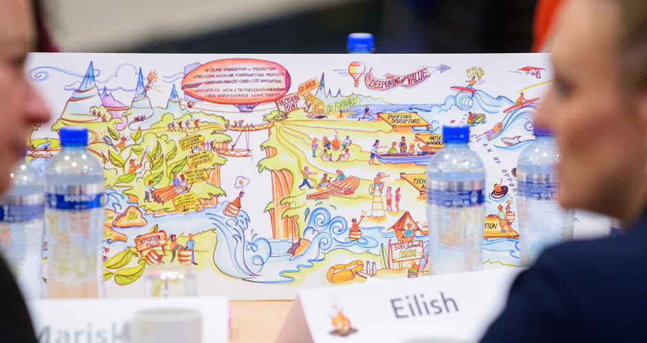 Your graphic facilitator will partner with you in clarifying your objectives, designing a process to fulfill them, and integrating visual learning processes and experiential meeting design.