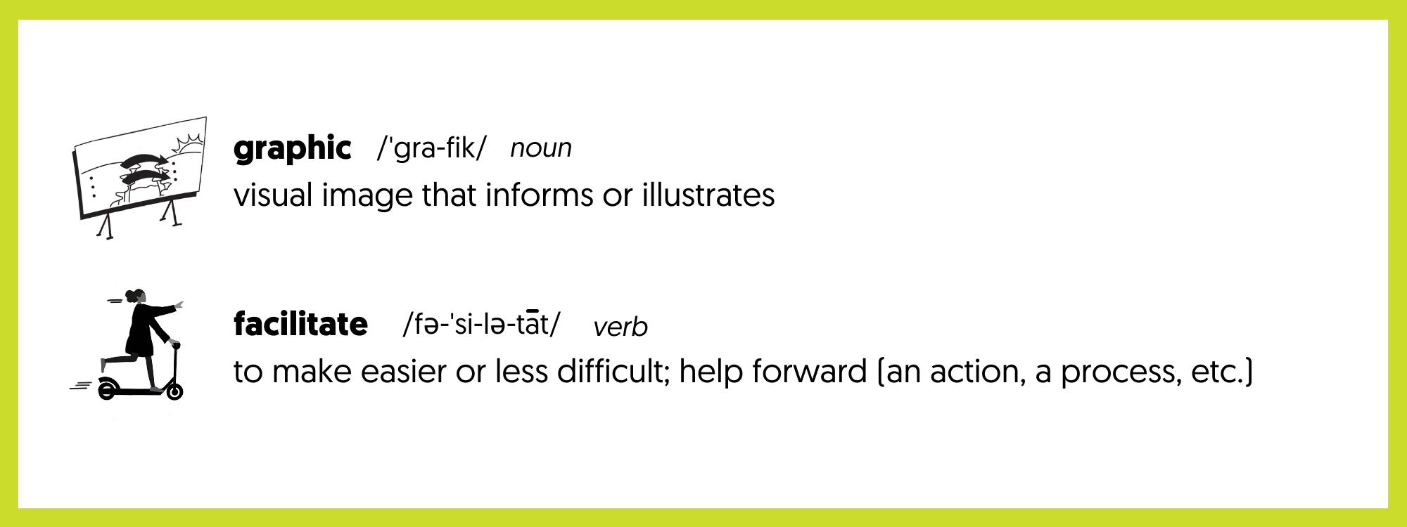 graphic facilitation definition relating to visual art, especially involving drawing, engraving, or letter. To make easier or less difficult; help forward a process