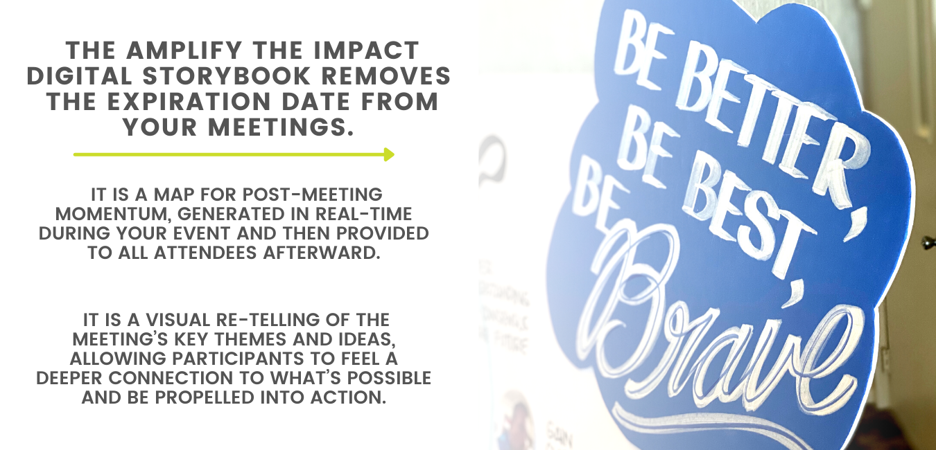 The Amplify the Impact Digital Storybook removes the expiration date from your meetings. It is a map for post-meeting momentum, generated in real-time during your event and then provided to all attendees afterward. It is a visual re-telling of the meeting's key themes and ideas, allowing participants to feel a deeper connection to what's possible and be propelled into action.